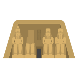 Abu Simbel temples Free Vector Illustration