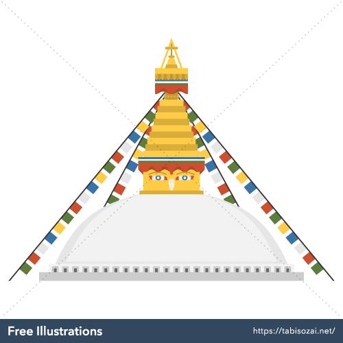 Boudhanath Free Vector Illustration