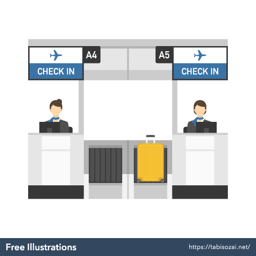Check in counter(Airport) Free Vector Illustration