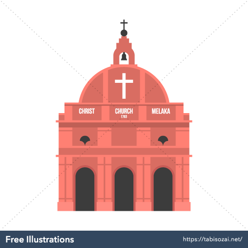 Christ Church Malacca Free PNG Illustration