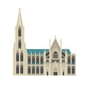 ケルン大聖堂の無料イラスト素材