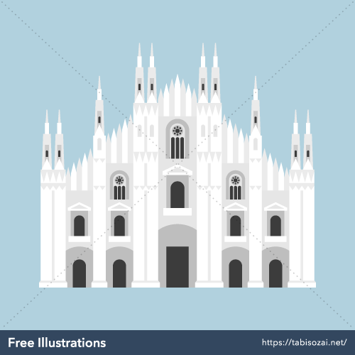 Milan Cathedral Free Vector Illustration