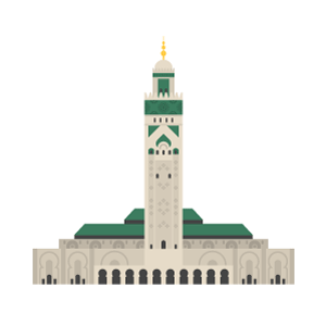 Hassan II Mosque Free Vector Illustration