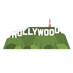 ハリウッドサインの無料イラスト素材