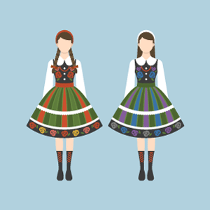 Łowicz national costume Free Vector Illustration