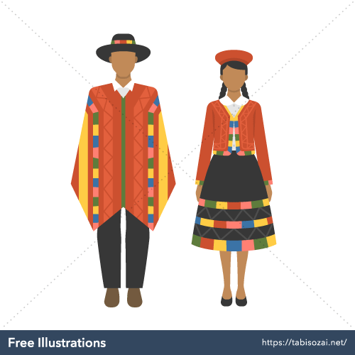 Peru national costume Free PNG Illustration