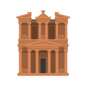 ペトラ遺跡の無料イラスト素材