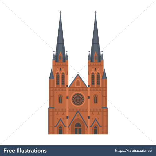 St Mary's Cathedral, Sydney Free Vector Illustration