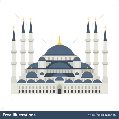 Sultan Ahmed Mosque Free Vector Illustration