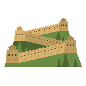 Great Wall of China Free PNG Illustration