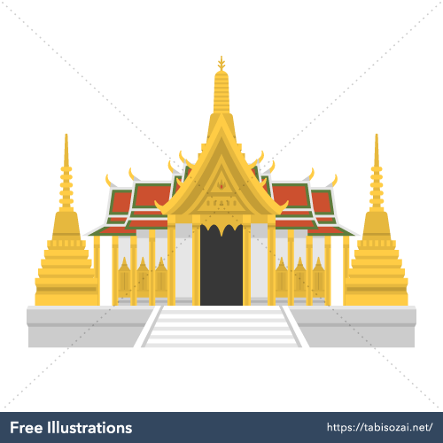 Wat Phra Kaew Free Vector Illustration