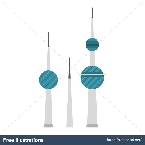 Kuwait Towers(Kuwait) Free Vector Illustration