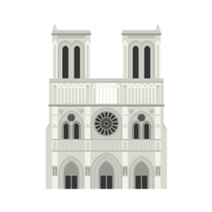 ノートルダム大聖堂の無料イラスト素材