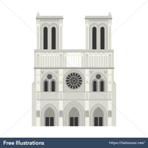 Notre-Dame de Paris Free Vector Illustration