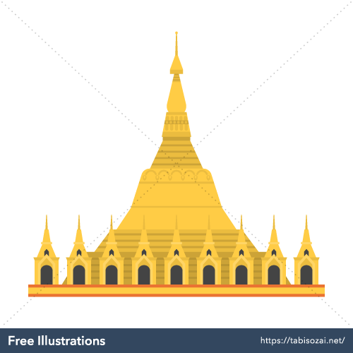 Shwedagon Pagoda Free PNG Illustration