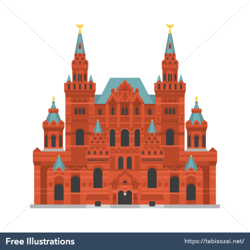 State Historical Museum(Russia) Free Vector Illustration