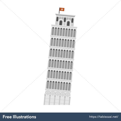 Torre di Pisa(Italy) Free Vector Illustration