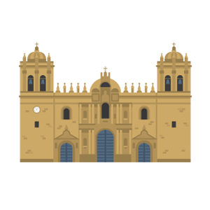 クスコ大聖堂の無料イラスト素材