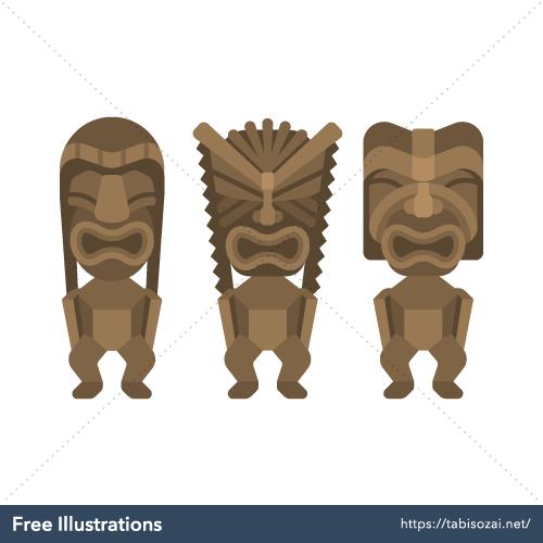 ティキ像(ハワイ・グアム・サイパン)の無料イラスト素材