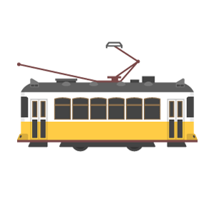 Trams in Lisbon Free Vector Illustration