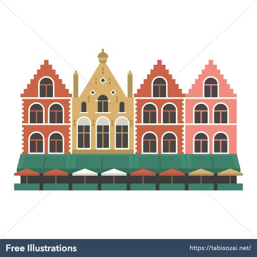 マルクト広場(ベルギー)の無料イラスト素材