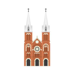サイゴン大教会の無料イラスト素材