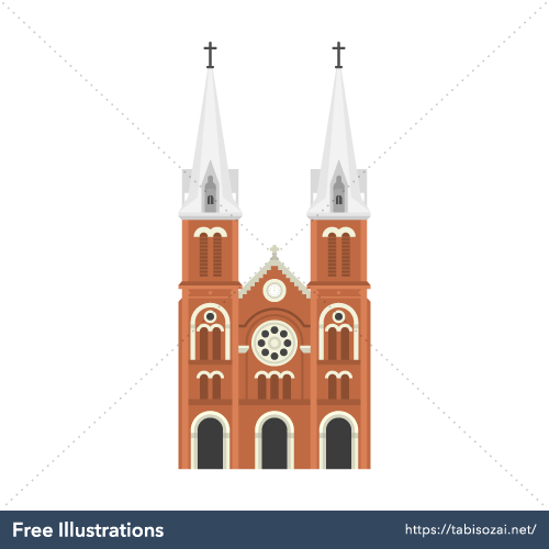 サイゴン大教会(ベトナム)の無料イラスト素材
