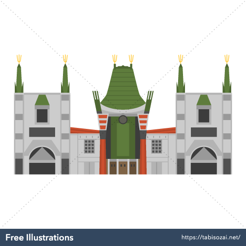 TCL Chinese Theatre Free Vector Illustration