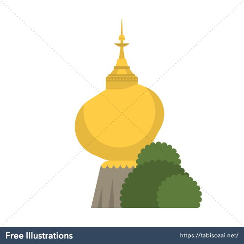 Golden Rock Free Vector Illustration