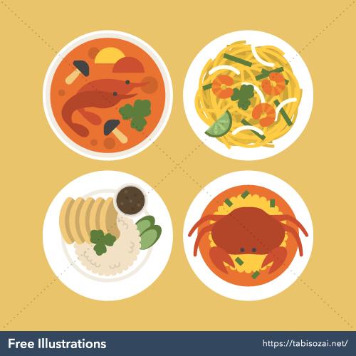 Thai food Free Vector Illustration