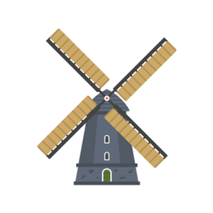Windmills of Kinderdijk Free Vector Illustration