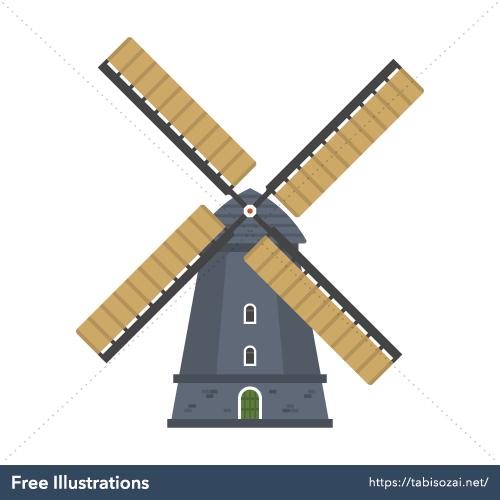 キンデルダイクの風車の無料イラスト素材