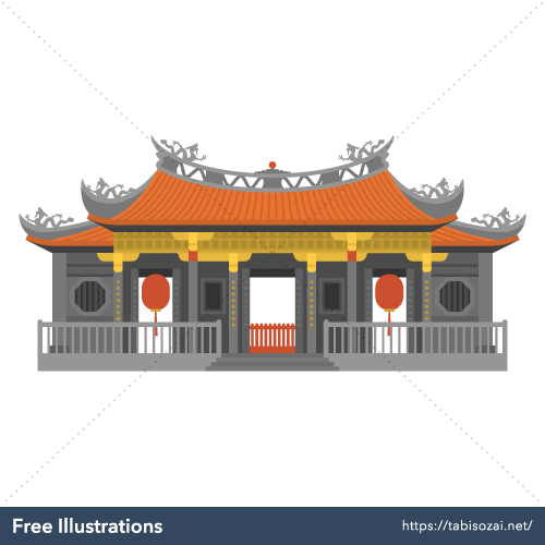 Lungshan Temple Free Vector Illustration