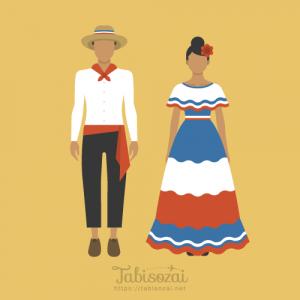 ドミニカ共和国の民族衣装の無料イラスト素材