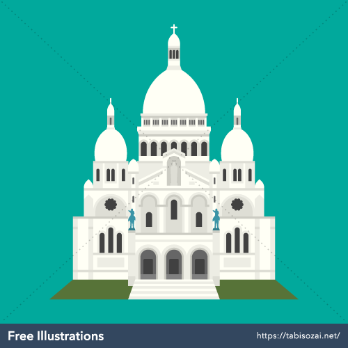 Sacré-Cœur, Paris Free Vector Illustration