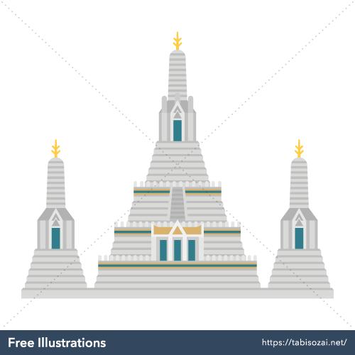 ワット・アルン(タイ)の無料イラスト素材