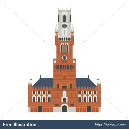 Belfry of Bruges Free Vector Illustration