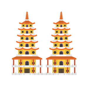 Dragon and Tiger Pagodas Free Vector Illustration