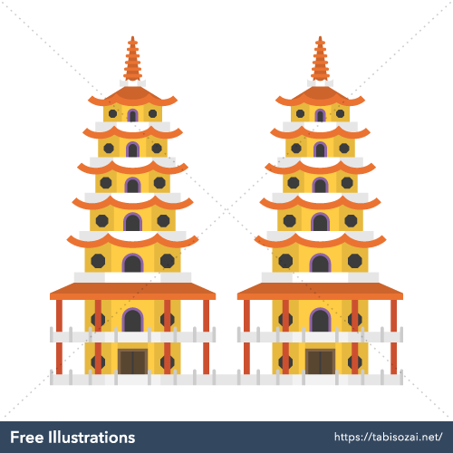 Dragon and Tiger Pagodas Free PNG Illustration