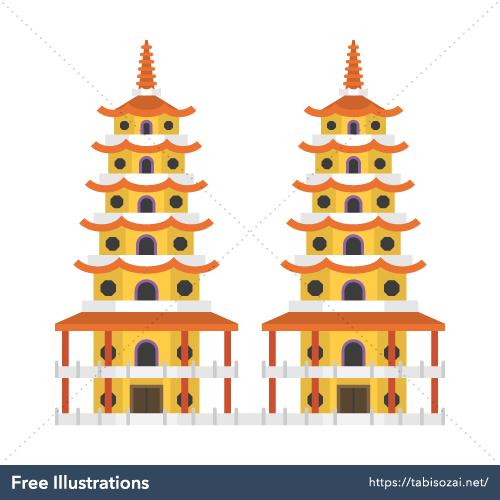 龍虎塔の無料イラスト素材