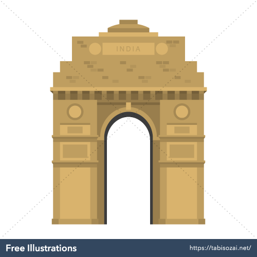 India Gate Free Vector Illustration