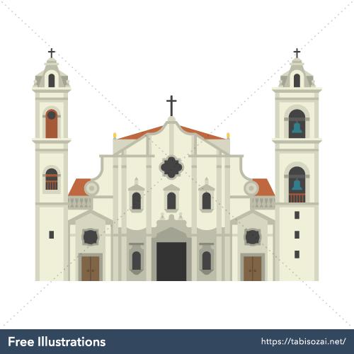 ハバナ大聖堂の無料イラスト素材