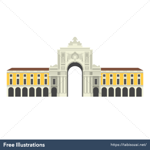 Praça do Comércio(Portugal) Free Vector Illustration