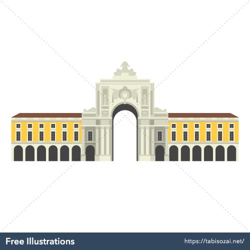 Praça do Comércio Free Vector Illustration