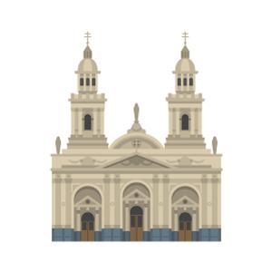 チリのサンティアゴ大聖堂の無料イラスト素材