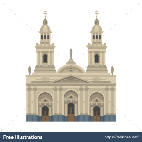 Santiago Metropolitan Cathedral Free Vector Illustration