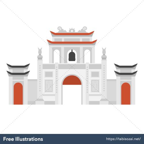 Temple of Literature Van Mieu Free Vector Illustration