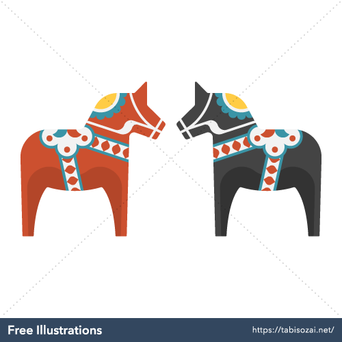 Dala horse Free Vector Illustration