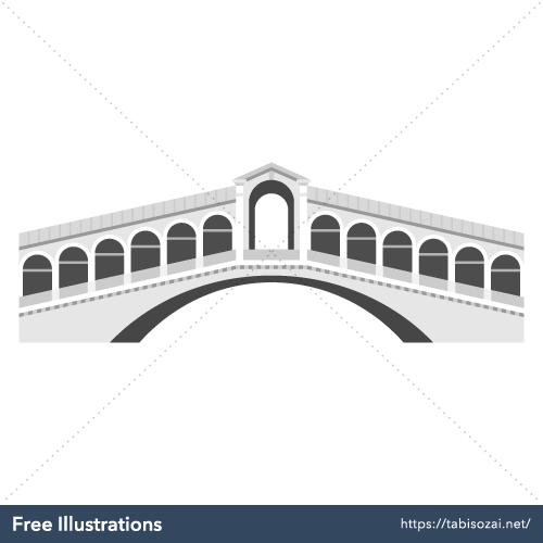 リアルト橋の無料イラスト素材
