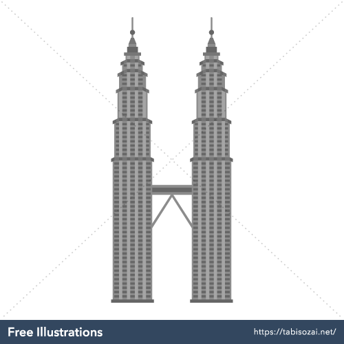 Petronas Towers Free PNG Illustration